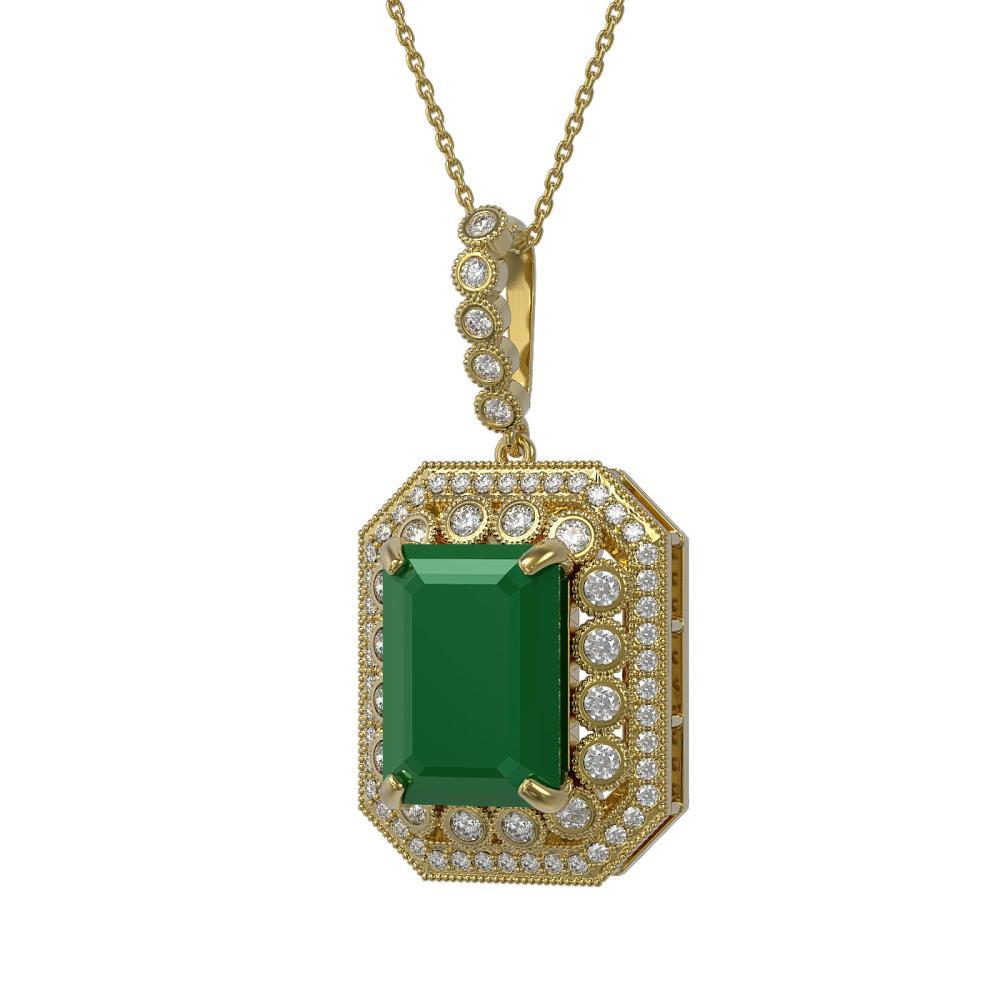 16.46 ctw Emerald & Diamond Necklace 14K Yellow Gold - REF-350X7R - SKU:43561