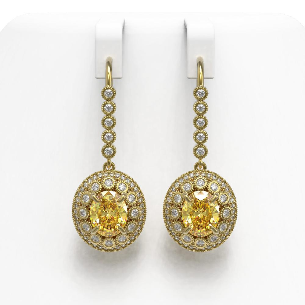 7.65 ctw Canary Citrine & Diamond Earrings 14K Yellow Gold - REF-216H9M - SKU:43618