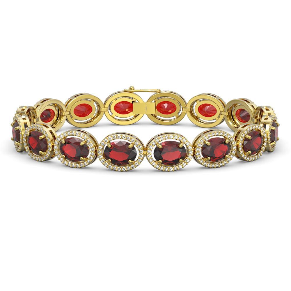 27.28 ctw Garnet & Diamond Halo Bracelet 10K Yellow Gold - REF-262K9W - SKU:40744