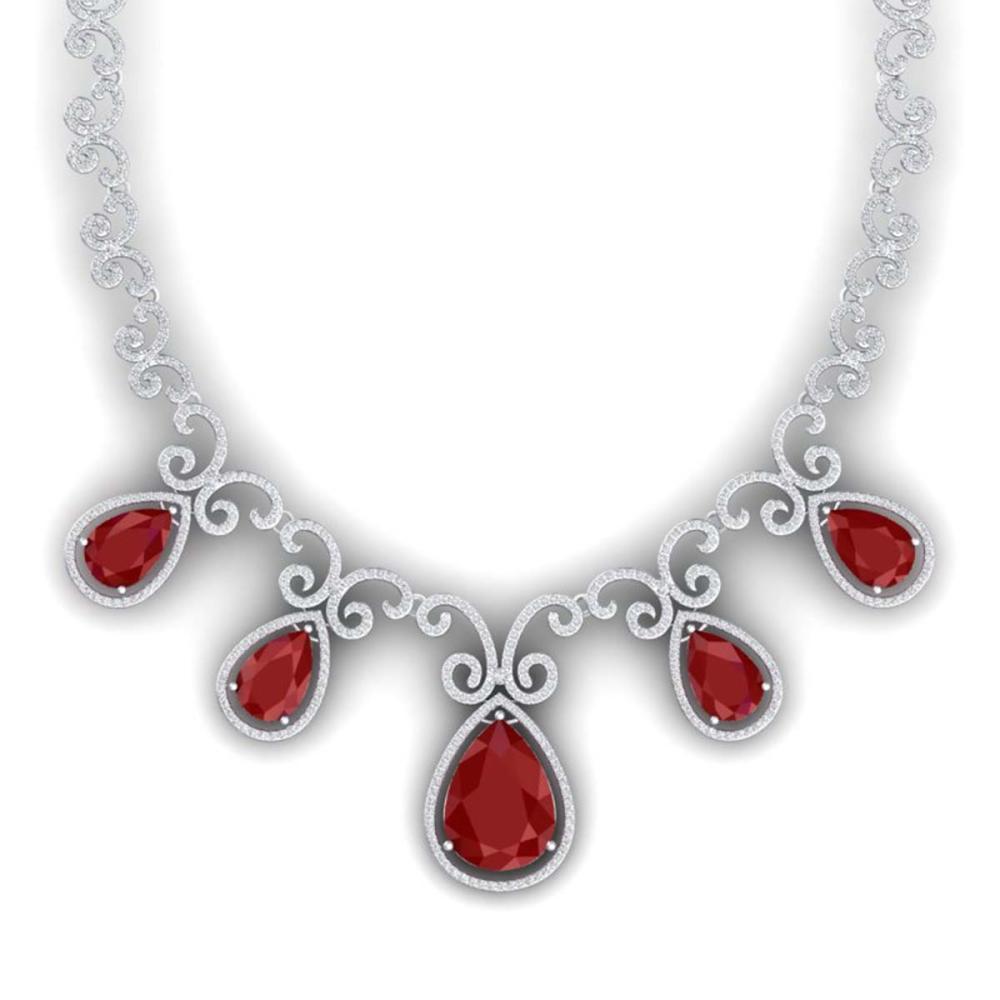 38.42 ctw Ruby & VS Diamond Necklace 18K White Gold - REF-1218K2W - SKU:39528