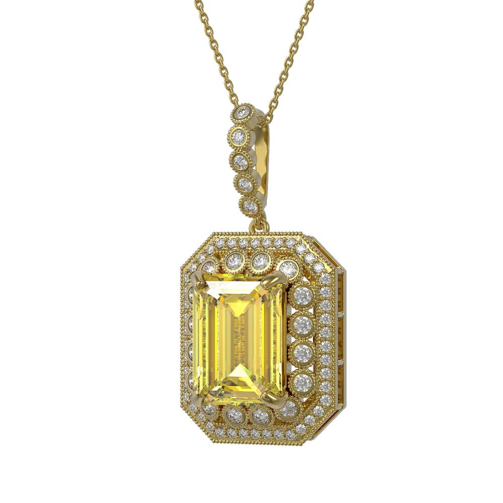 16.65 ctw Canary Citrine & Diamond Necklace 14K Yellow Gold - REF-250W5H - SKU:43573