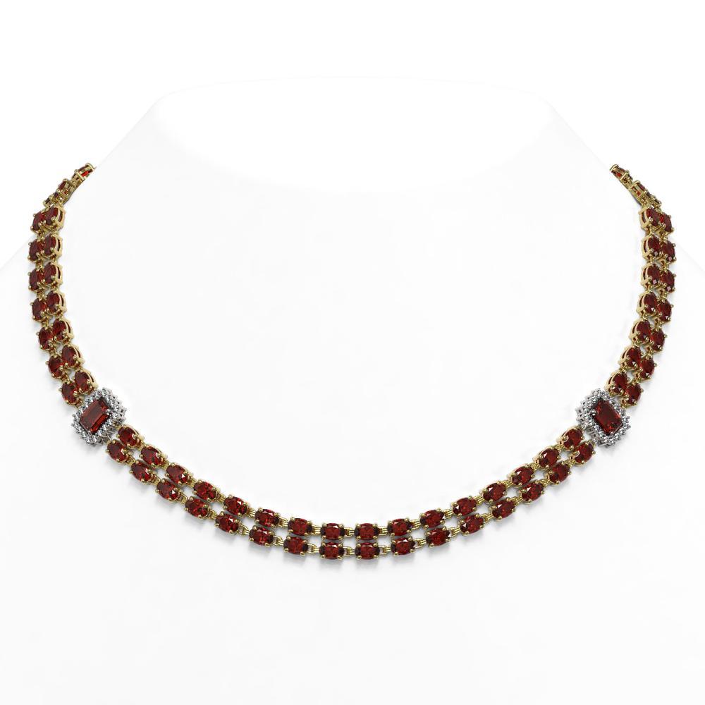 59.86 ctw Garnet & Diamond Necklace 14K Yellow Gold - REF-446N2A - SKU:45127