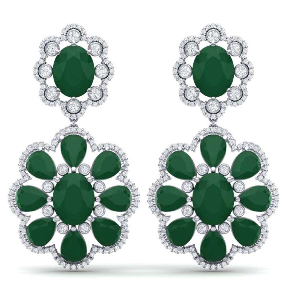 33.88 ctw Emerald & VS Diamond Earrings 18K White Gold - REF-472X7R - SKU:39153