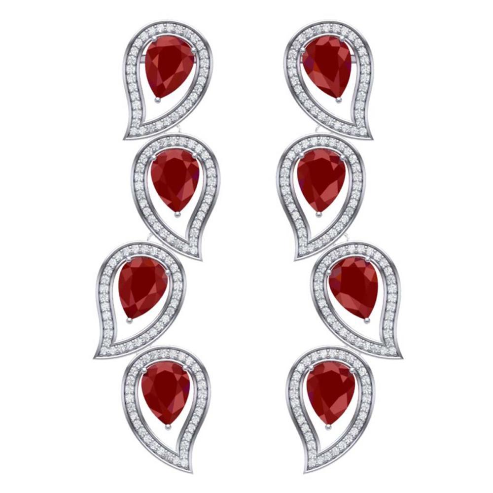 16.44 ctw Ruby & VS Diamond Earrings 18K White Gold - REF-385H5M - SKU:39453