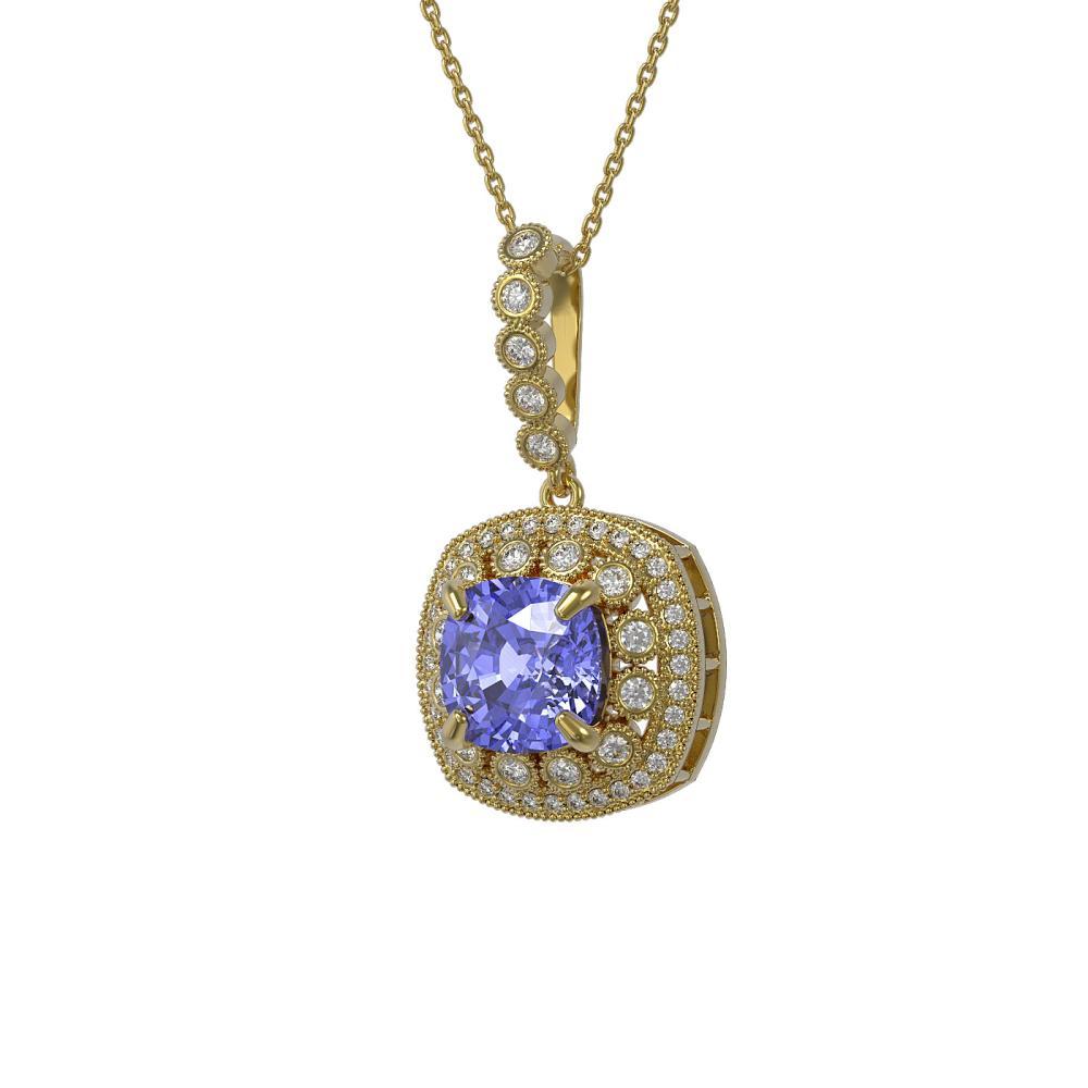 7.19 ctw Tanzanite & Diamond Necklace 14K Yellow Gold - REF-234N9A - SKU:44011