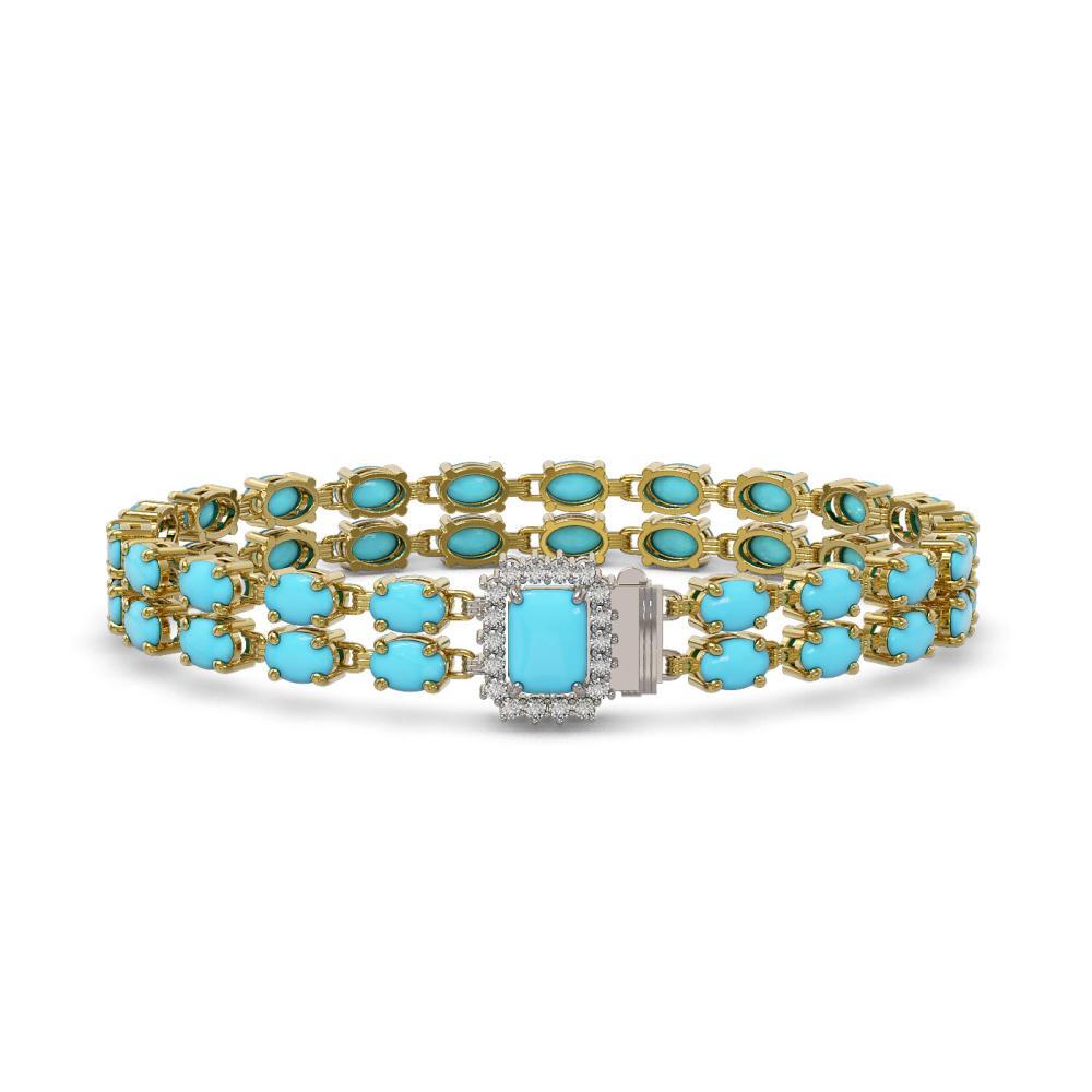 20.36 ctw Turquoise & Diamond Bracelet 14K Yellow Gold - REF-184X9R - SKU:45817