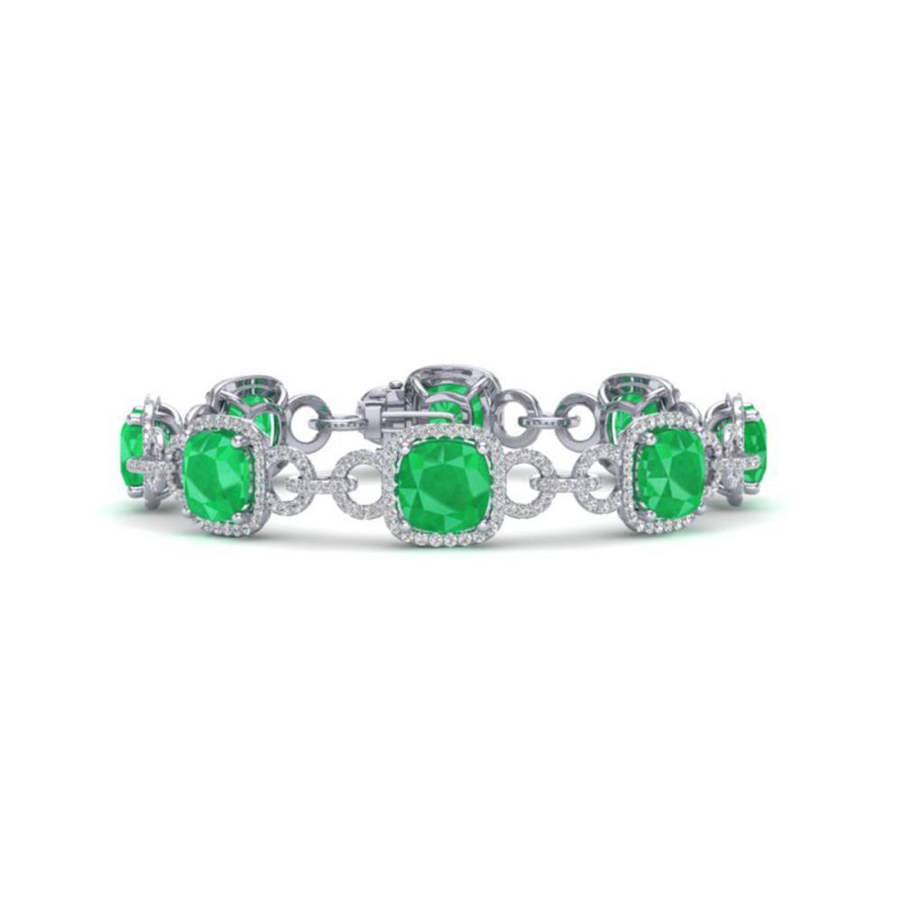25 ctw Emerald & VS/SI Diamond Bracelet 14K White Gold - REF-457N3A - SKU:23021