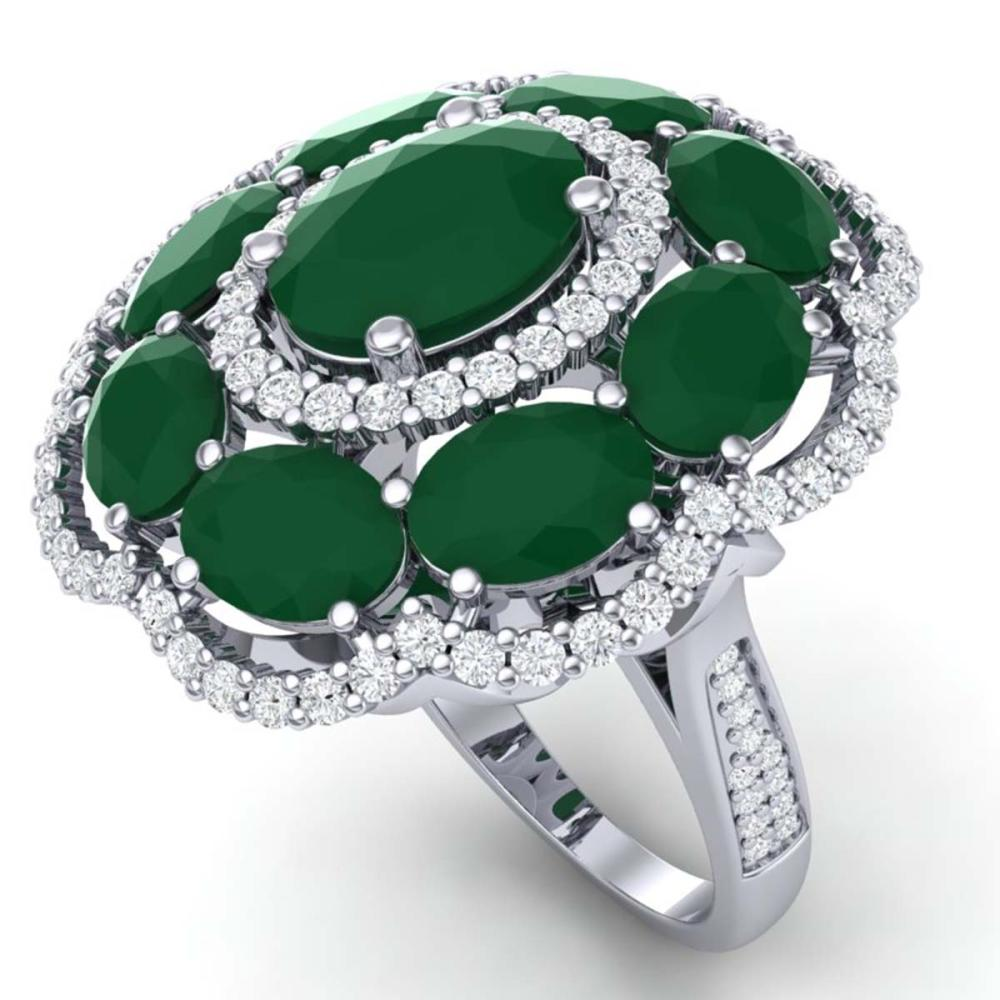 14.4 ctw Emerald & VS Diamond Ring 18K White Gold - REF-300V2Y - SKU:39183