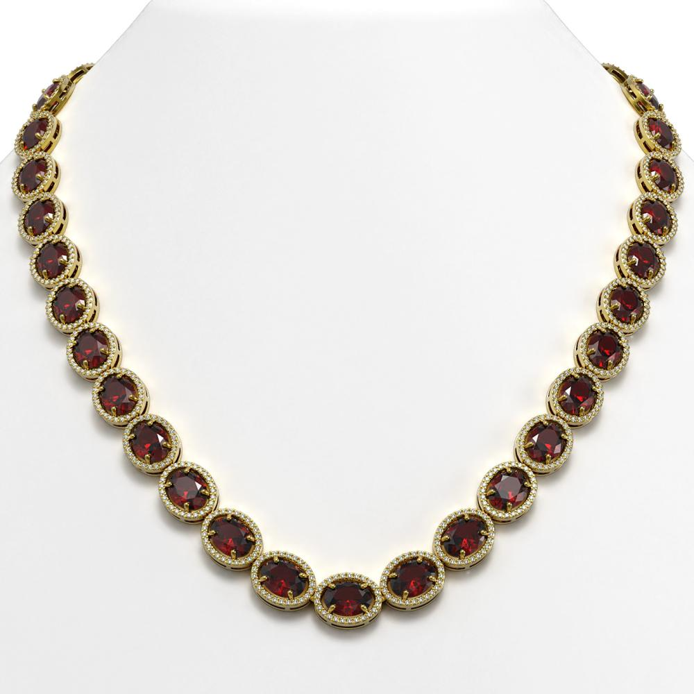 62.99 ctw Garnet & Diamond Halo Necklace 10K Yellow Gold - REF-654W5H - SKU:40696