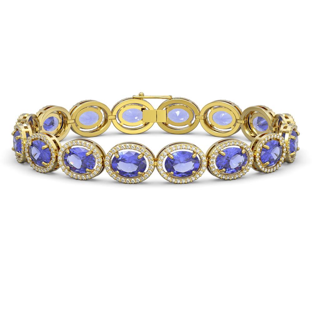 27.28 ctw Tanzanite & Diamond Halo Bracelet 10K Yellow Gold - REF-465V3Y - SKU:40708