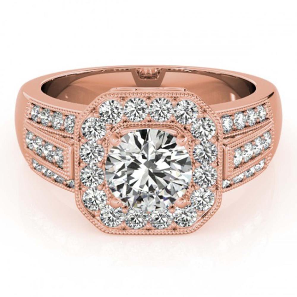 1.50 ctw VS/SI Diamond Halo Ring 18K Rose Gold - REF-216V8Y - SKU:26893