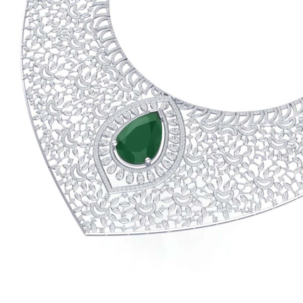 63.93 ctw Emerald & VS Diamond Necklace 18K White Gold - REF-2690H9M - SKU:39570