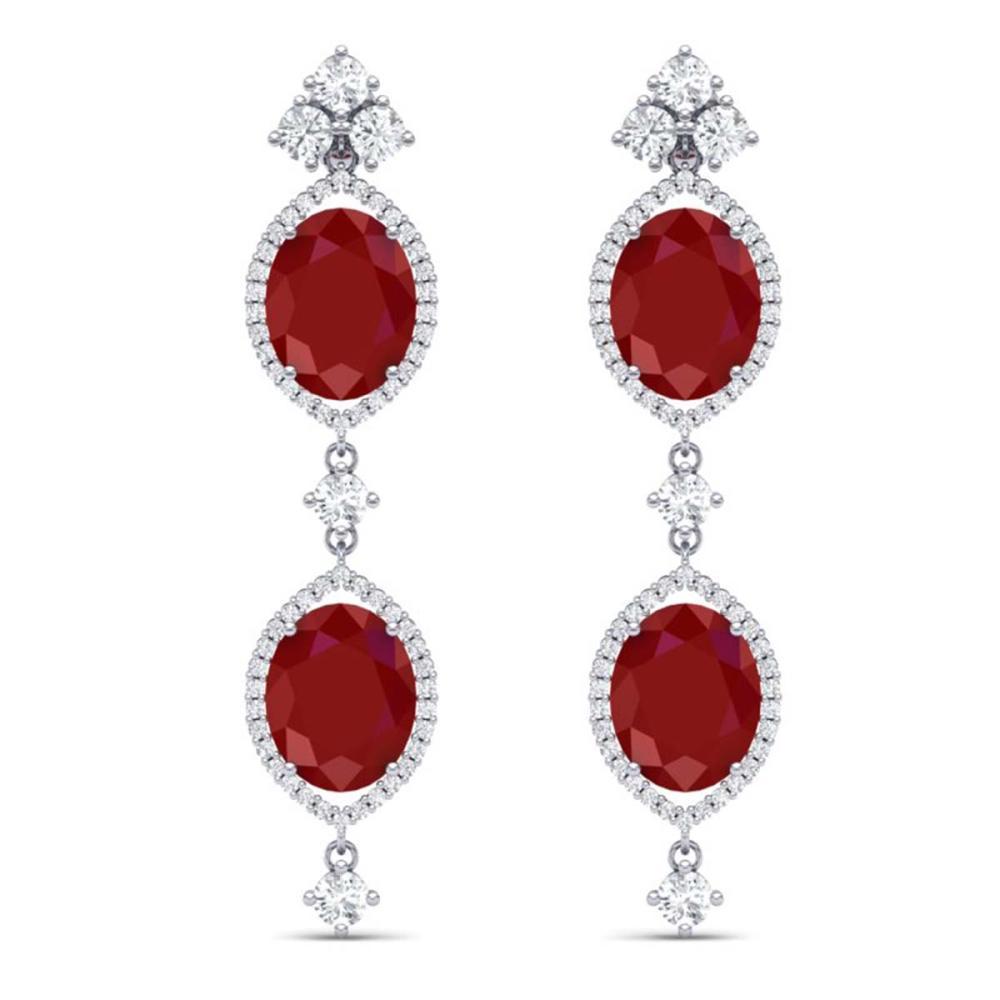 15.81 ctw Ruby & VS Diamond Earrings 18K White Gold - REF-309Y3X - SKU:38907