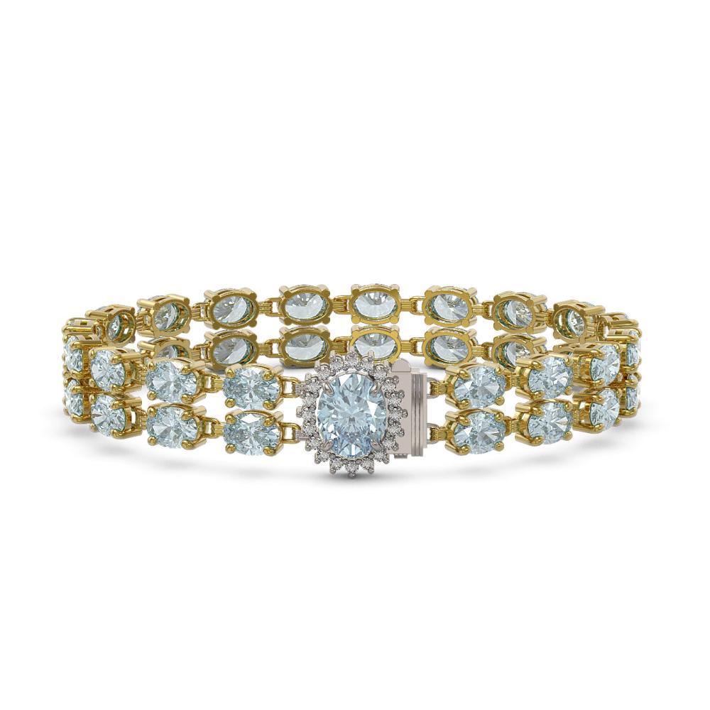 27.43 ctw Sky Topaz & Diamond Bracelet 14K Yellow Gold - REF-169F2N - SKU:45853