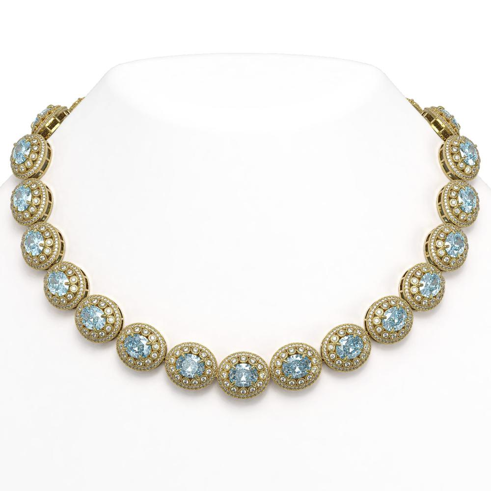 90.5 ctw Aquamarine & Diamond Necklace 14K Yellow Gold - REF-3020K2W - SKU:43696
