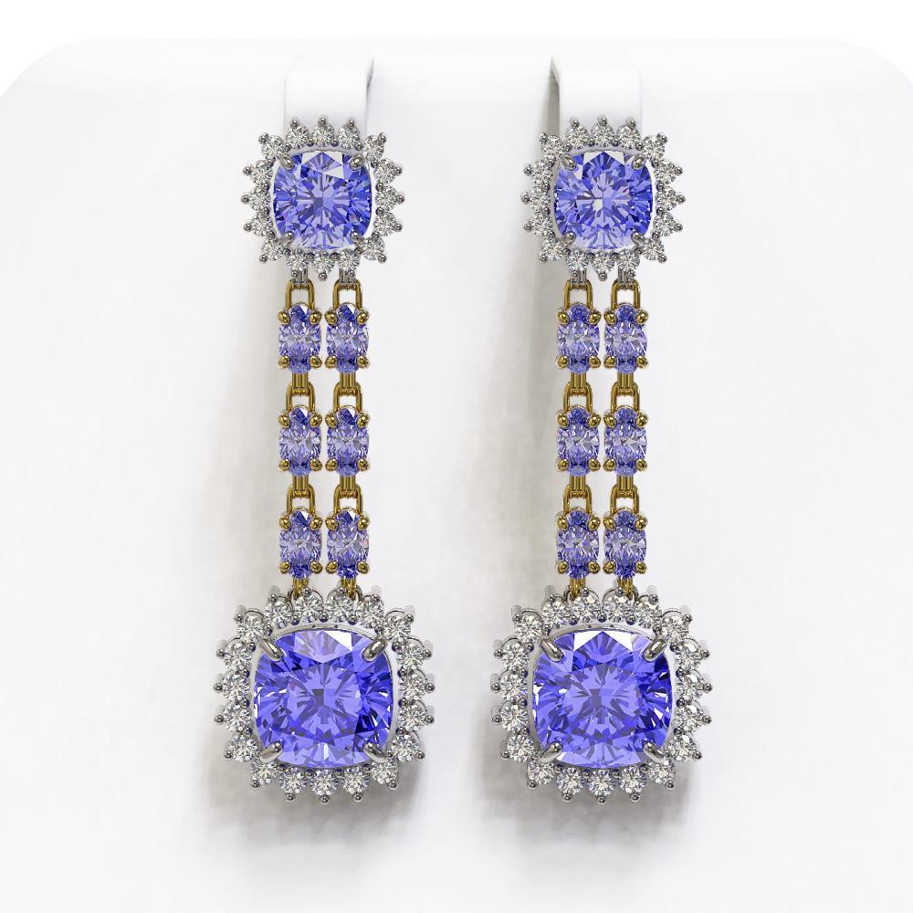 20.06 ctw Tanzanite & Diamond Earrings 14K Yellow Gold - REF-469V6Y - SKU:44920