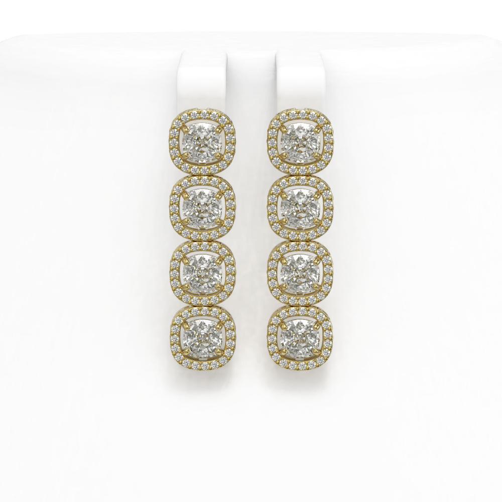 6.01 ctw Cushion Diamond Earrings 18K Yellow Gold - REF-845N7A - SKU:42721