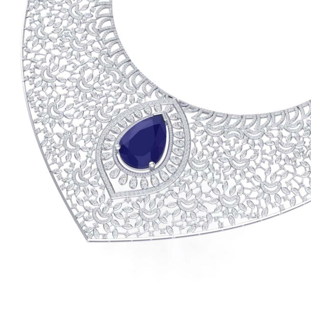 63.93 ctw Sapphire & VS Diamond Necklace 18K White Gold - REF-2563M6F - SKU:39576