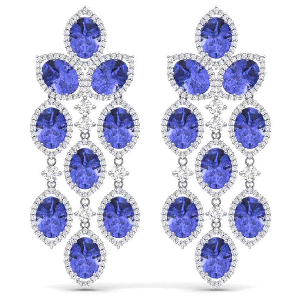 20.53 ctw Tanzanite & VS Diamond Earrings 18K White Gold - REF-527H3M - SKU:38931