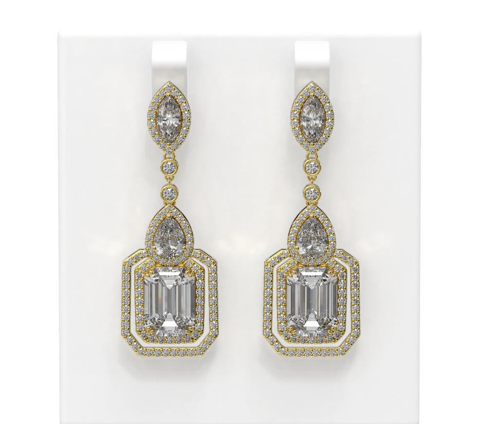 13 ctw Diamond Earrings 18K Yellow Gold - REF-8411N2F