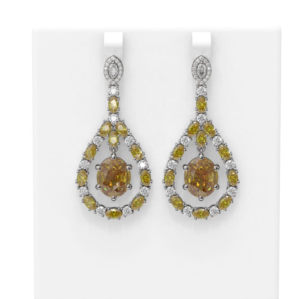 21.06 ctw Canary Citrine & Diamond Earrings 18K White Gold - REF-444A4N