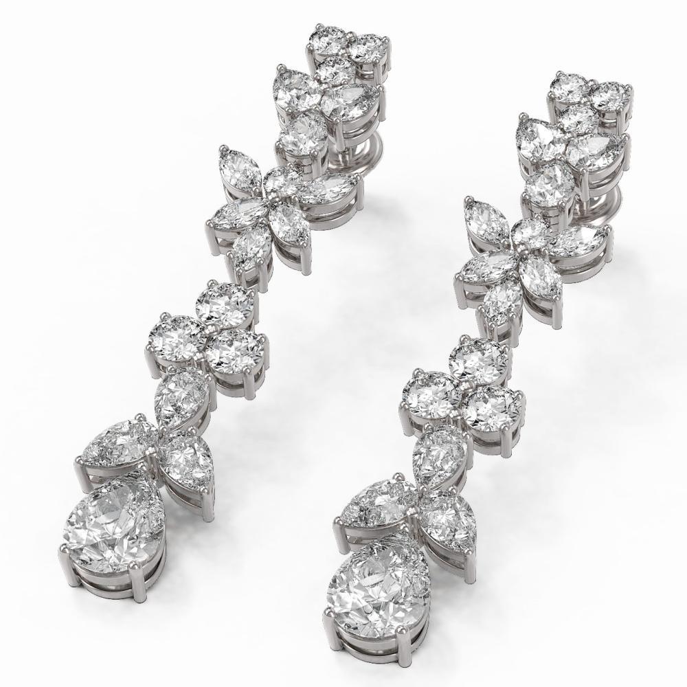 8.34 ctw Pear Cut Diamond Designer Earrings 18K White Gold - REF-1490M8G