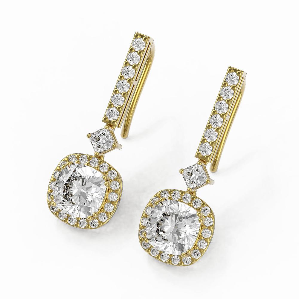 4.25 ctw Cushion Cut Diamond Designer Earrings 18K Yellow Gold - REF-1105F4M