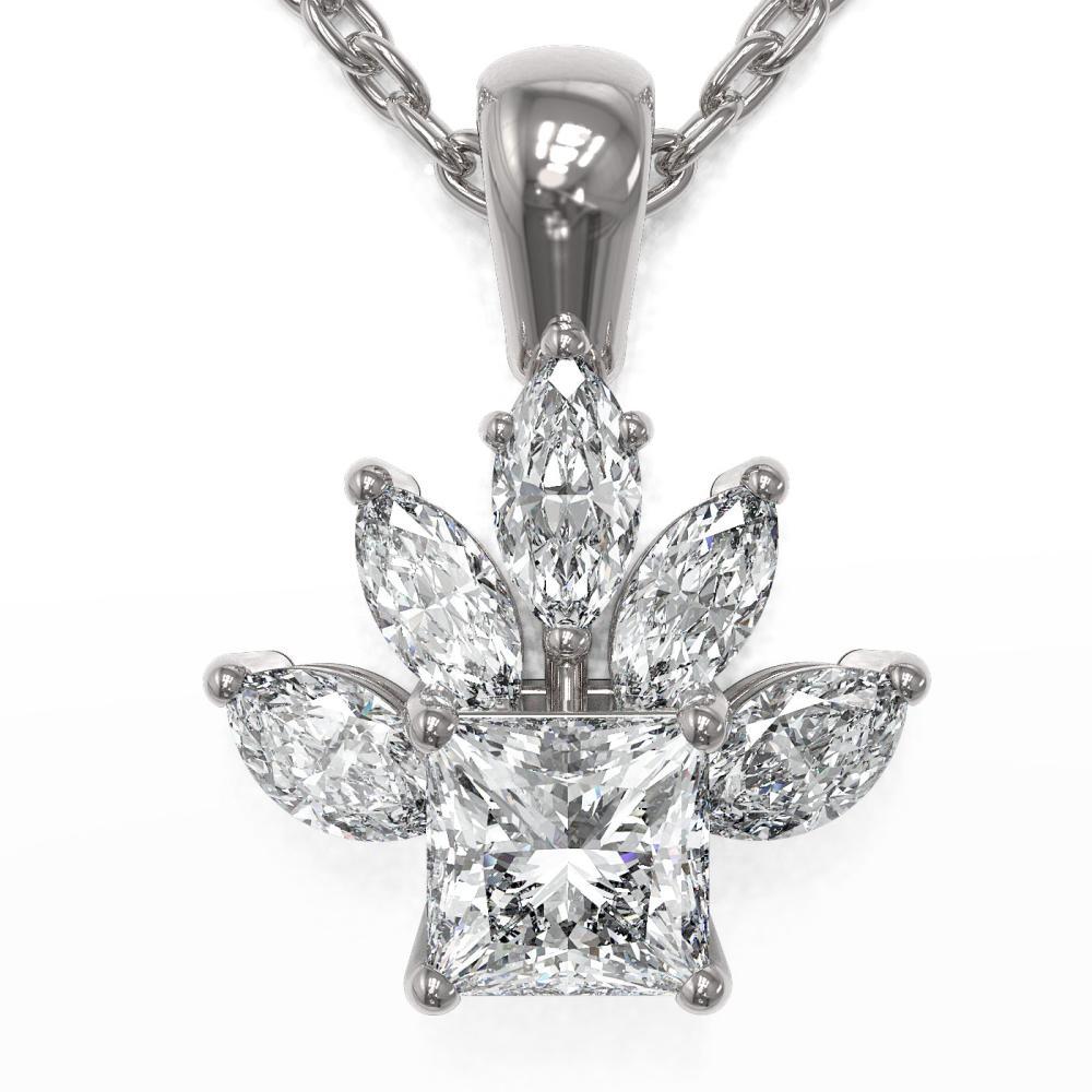 1.5 ctw Princess Cut Diamond Designer Necklace 18K White Gold - REF-320K3Y