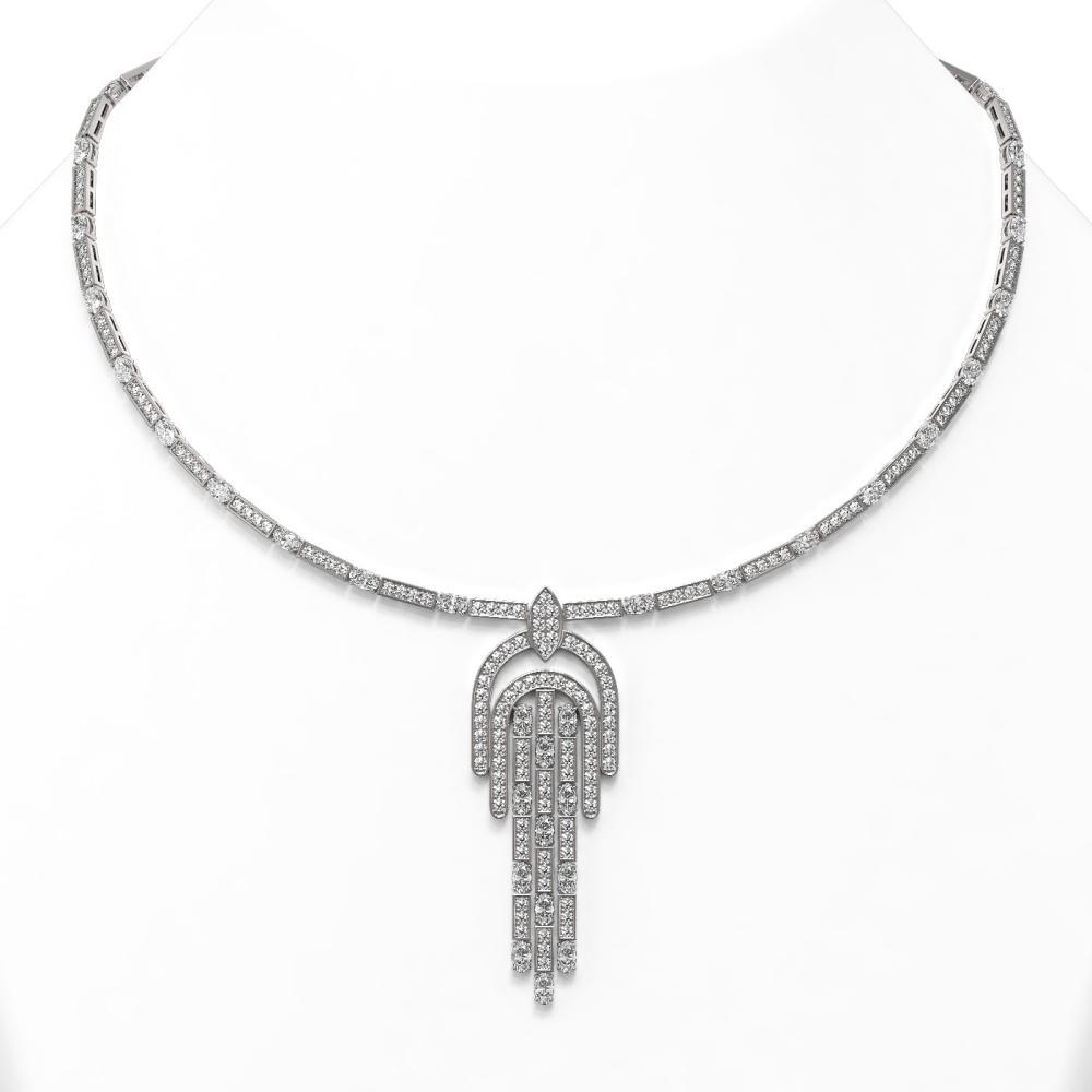19 ctw Oval Cut Diamonds Designer Necklace 18K White Gold - REF-2066F4M