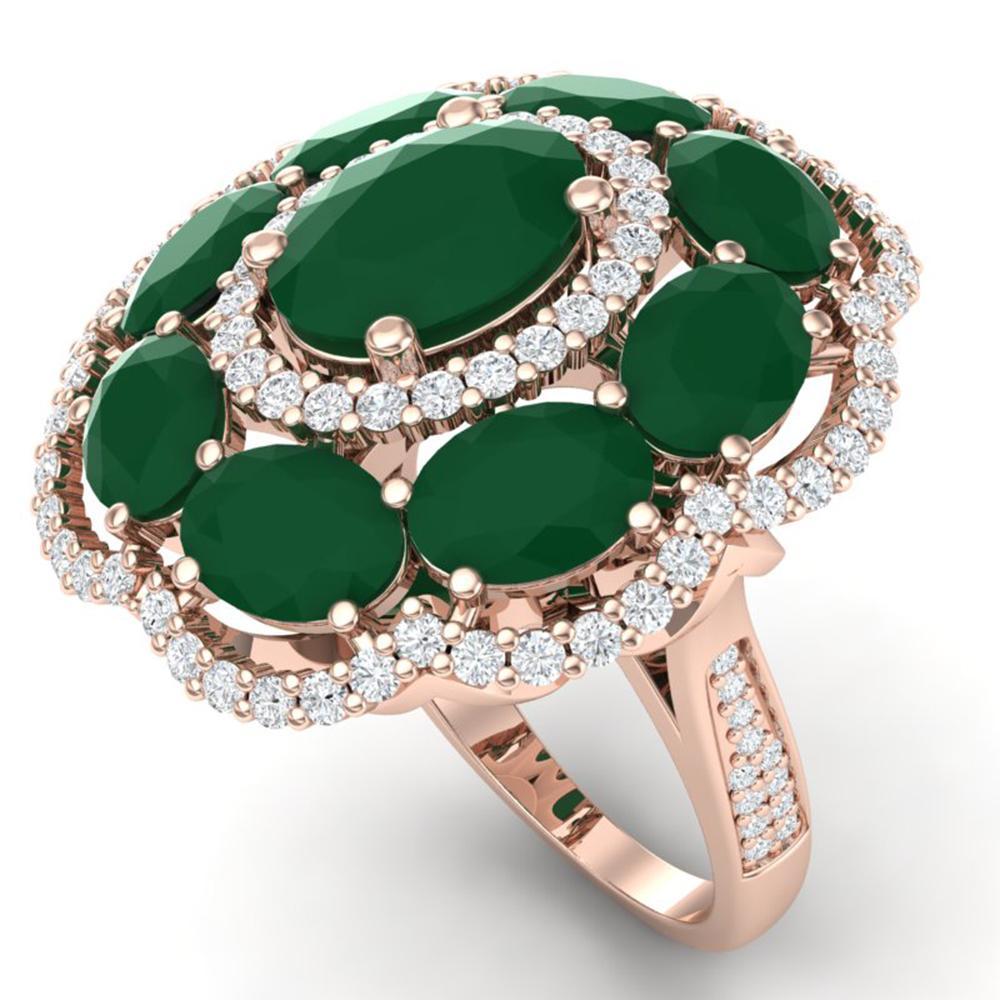14.4 ctw Designer Emerald & VS Diamond Ring 18K Rose Gold - REF-300G2W