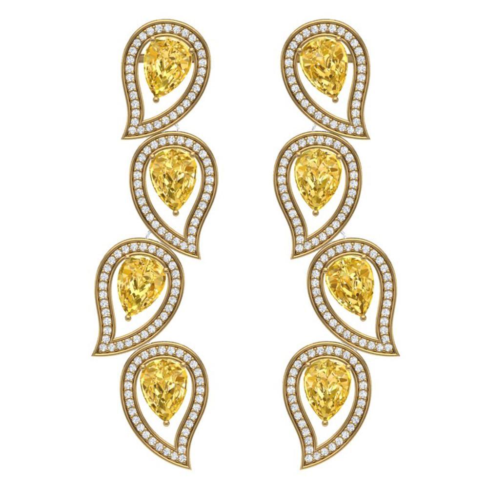 14.63 ctw Canary Citrine & VS Diamond Earrings 18K Yellow Gold - REF-281Y8X