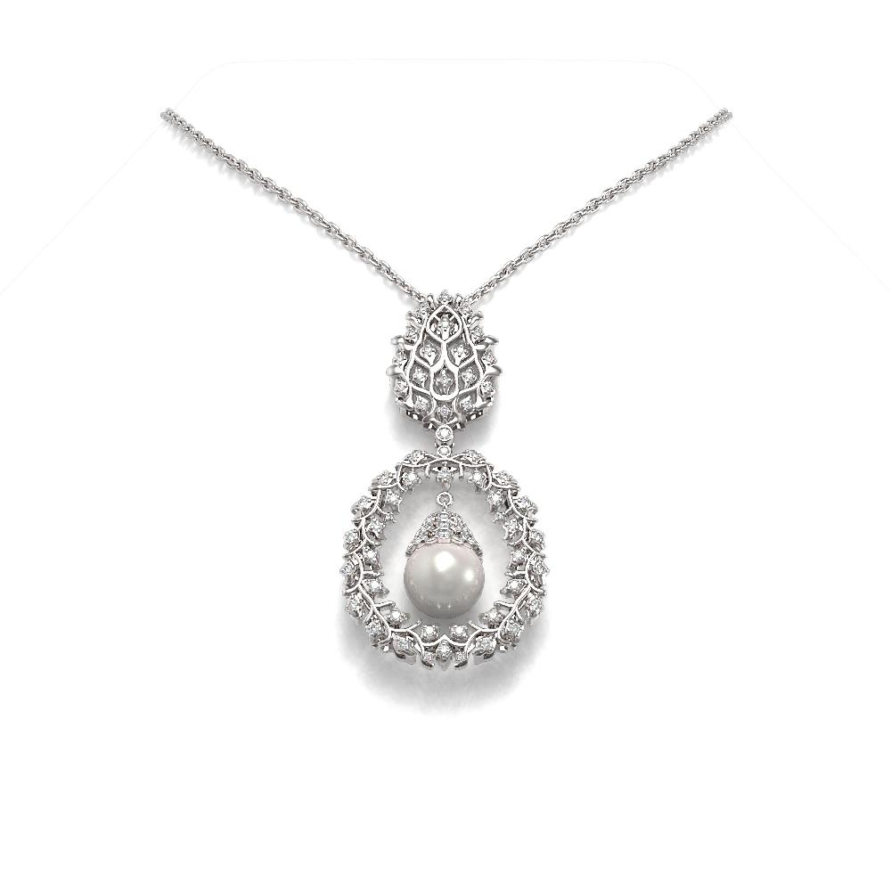 1.5 ctw Diamond & Pearl Necklace 18K White Gold - REF-226N9F