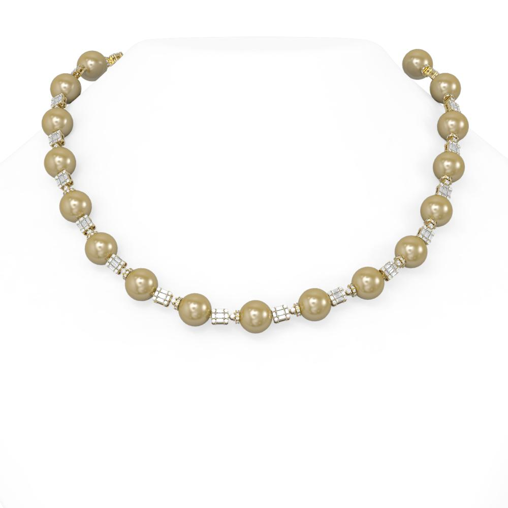 9.53 ctw Diamond & Pearl Necklace 18K Yellow Gold - REF-1193A8N