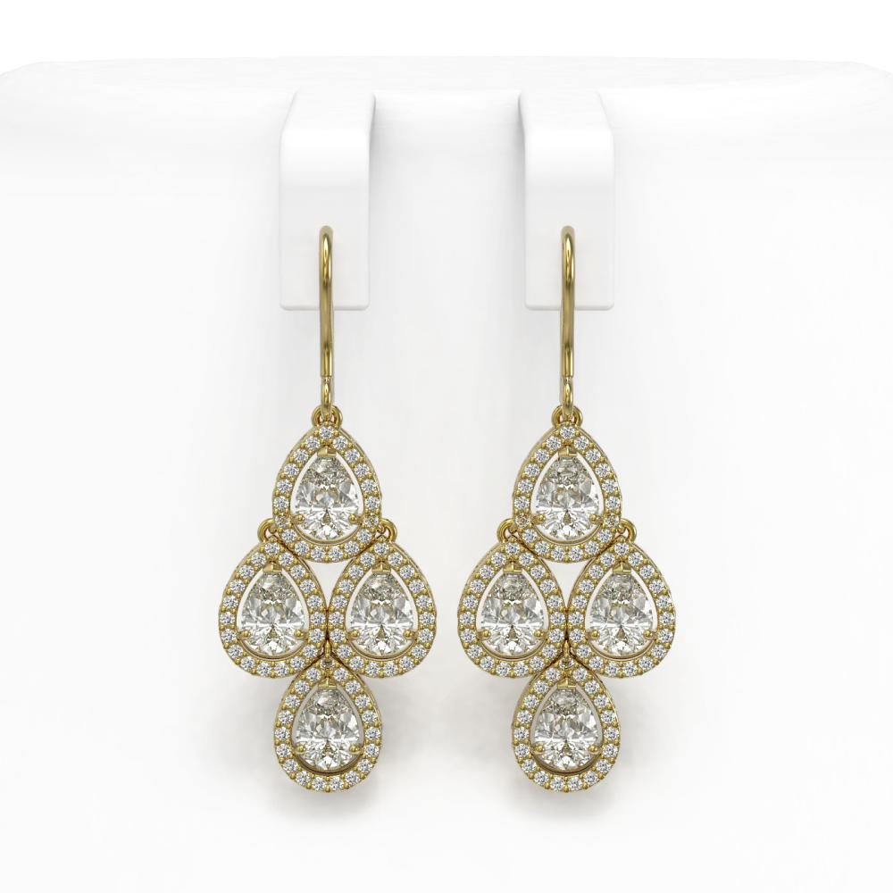 5.85 ctw Pear Cut Diamond Micro Pave Earrings 18K Yellow Gold - REF-817G6W