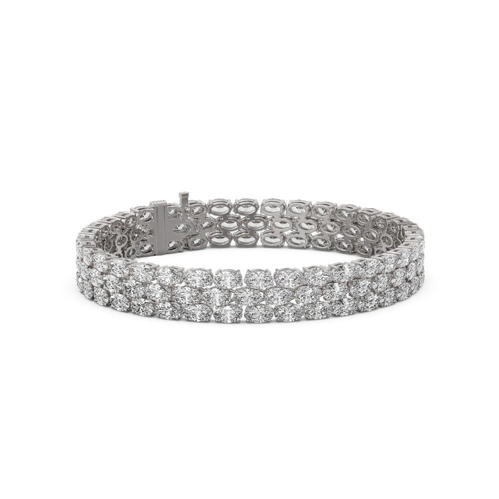 25 ctw Oval Cut Diamond Designer Bracelet 18K White Gold - REF-3484Y2X