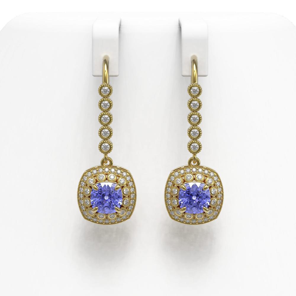 5.2 ctw Certified Tanzanite & Diamond Victorian Earrings 14K Yellow Gold - REF-172K8Y