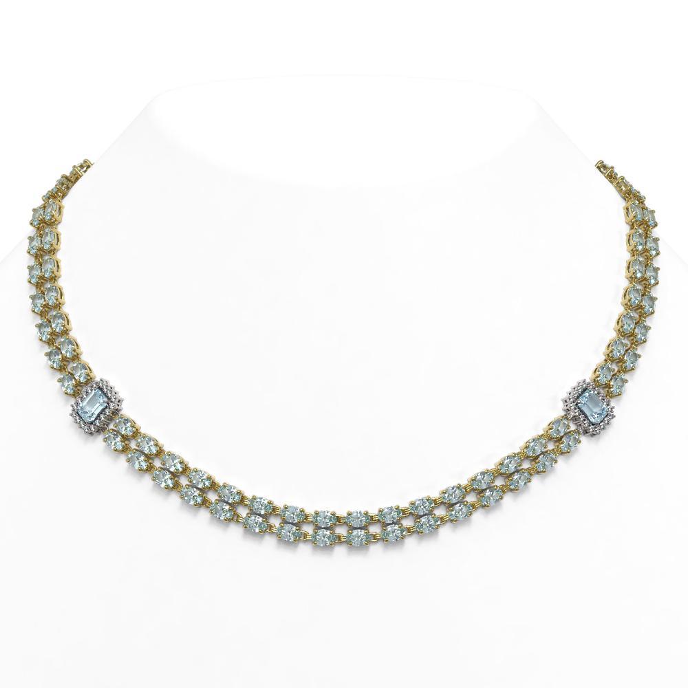 44.4 ctw Aquamarine & Diamond Necklace 14K Yellow Gold - REF-619R5K
