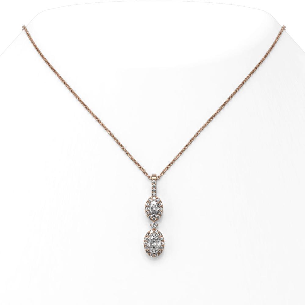 1.25 ctw Oval Cut Diamond Designer Necklace 18K Rose Gold - REF-141A3N