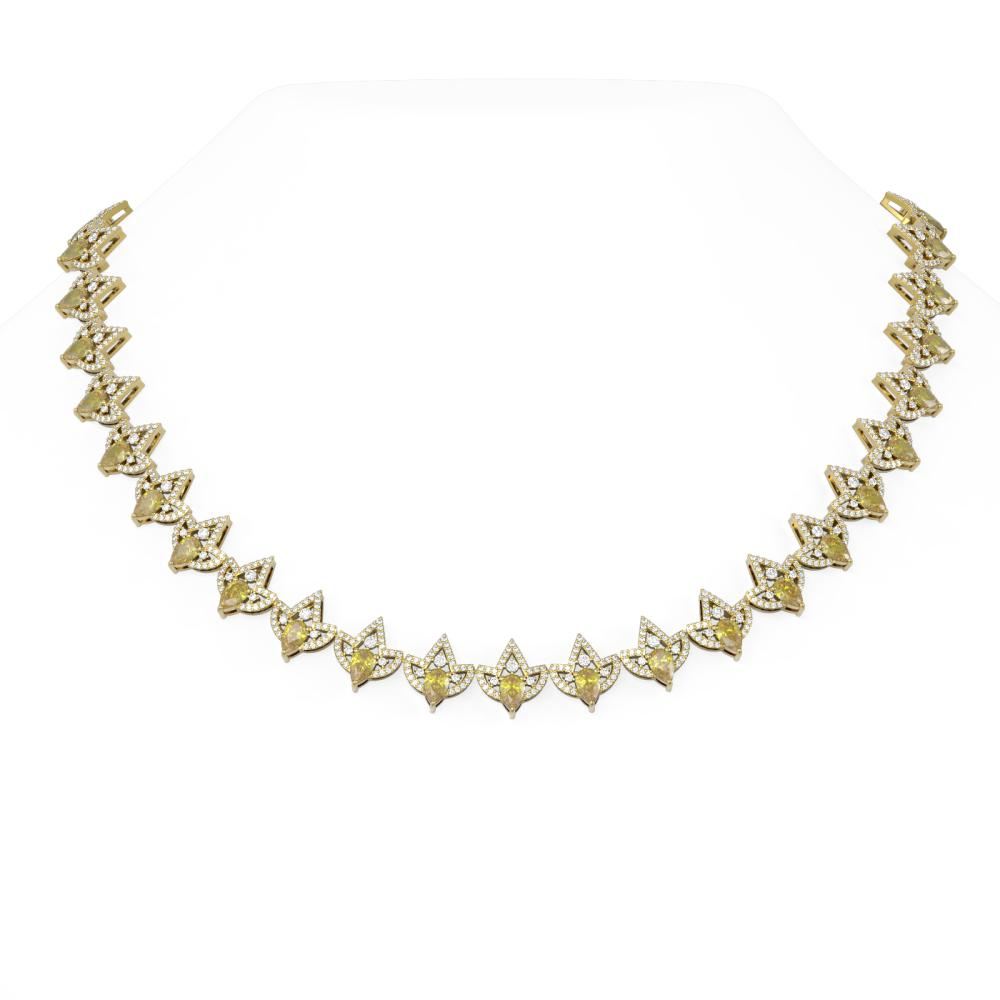 23.96 ctw Canary Citrine & Diamond Necklace 18K Yellow Gold - REF-1190A9N