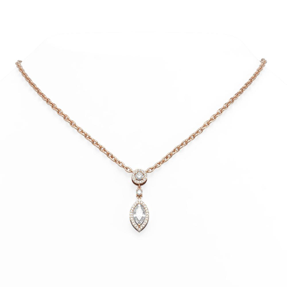 1.61 ctw Marquise Diamond Necklace 18K Rose Gold - REF-379R3K