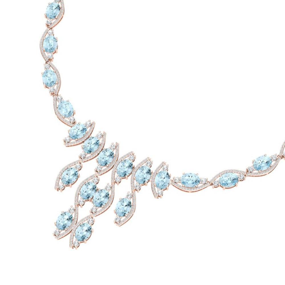 68.12 ctw Sky Topaz & VS Diamond Necklace 18K Rose Gold - REF-945G5W