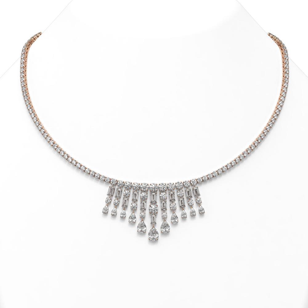 29 ctw Mixed Cut Diamond Designer Necklace 18K Rose Gold - REF-4299X3A