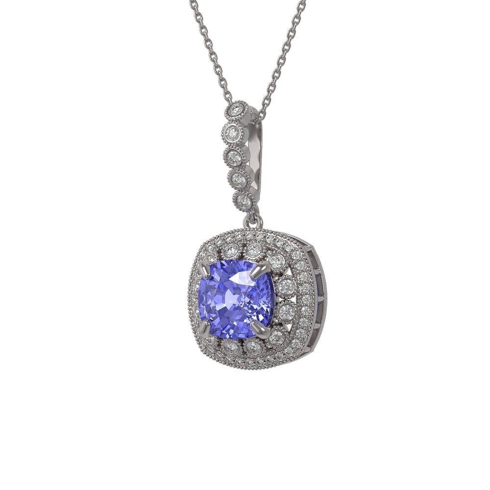 7.19 ctw Tanzanite & Diamond Victorian Necklace 14K White Gold - REF-290N9F