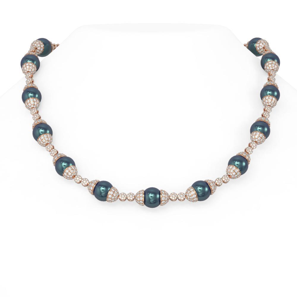 27.4 ctw Diamond & Pearl Necklace 18K Rose Gold - REF-2116R2K