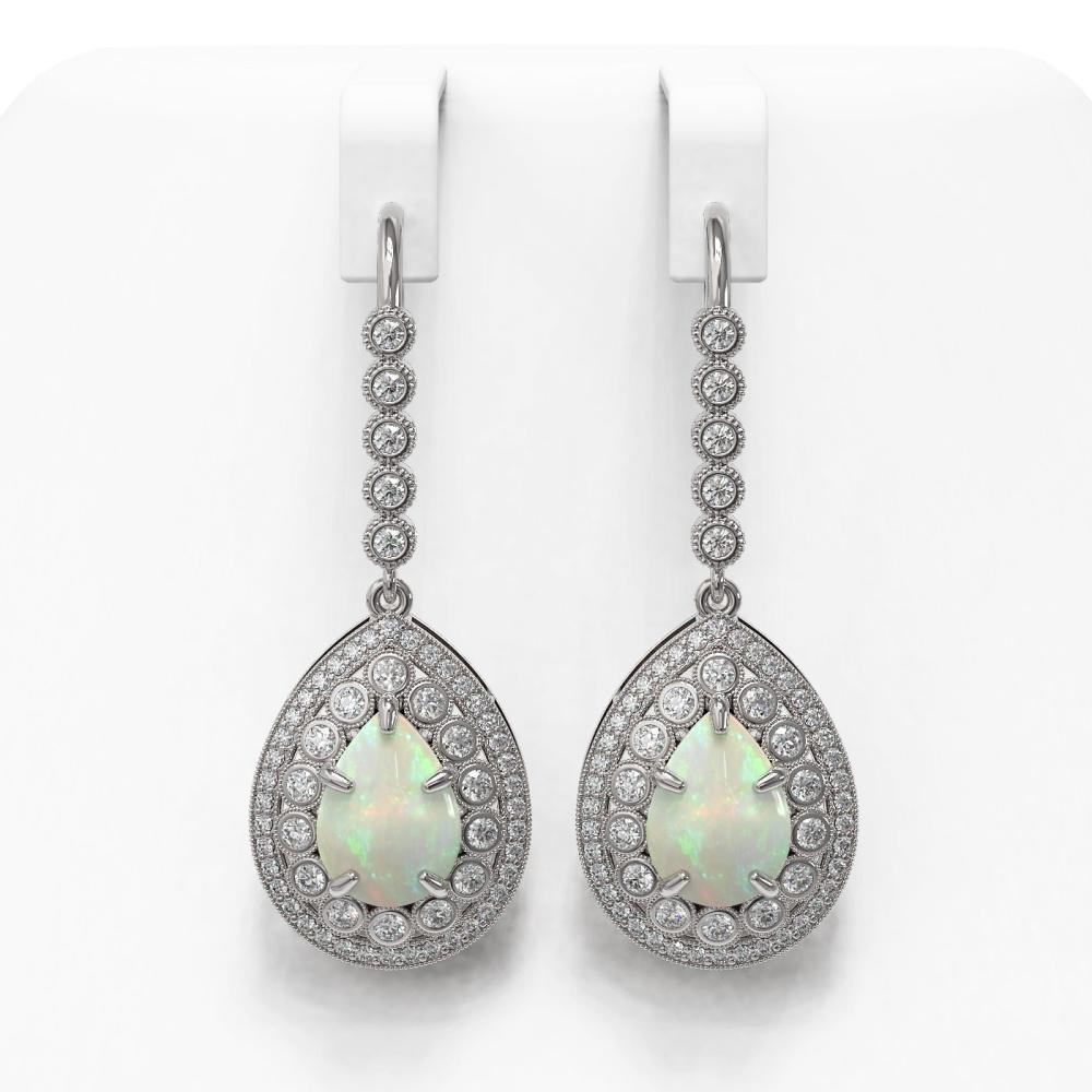 8.29 ctw Certified Opal & Diamond Victorian Earrings 14K White Gold - REF-268H9R