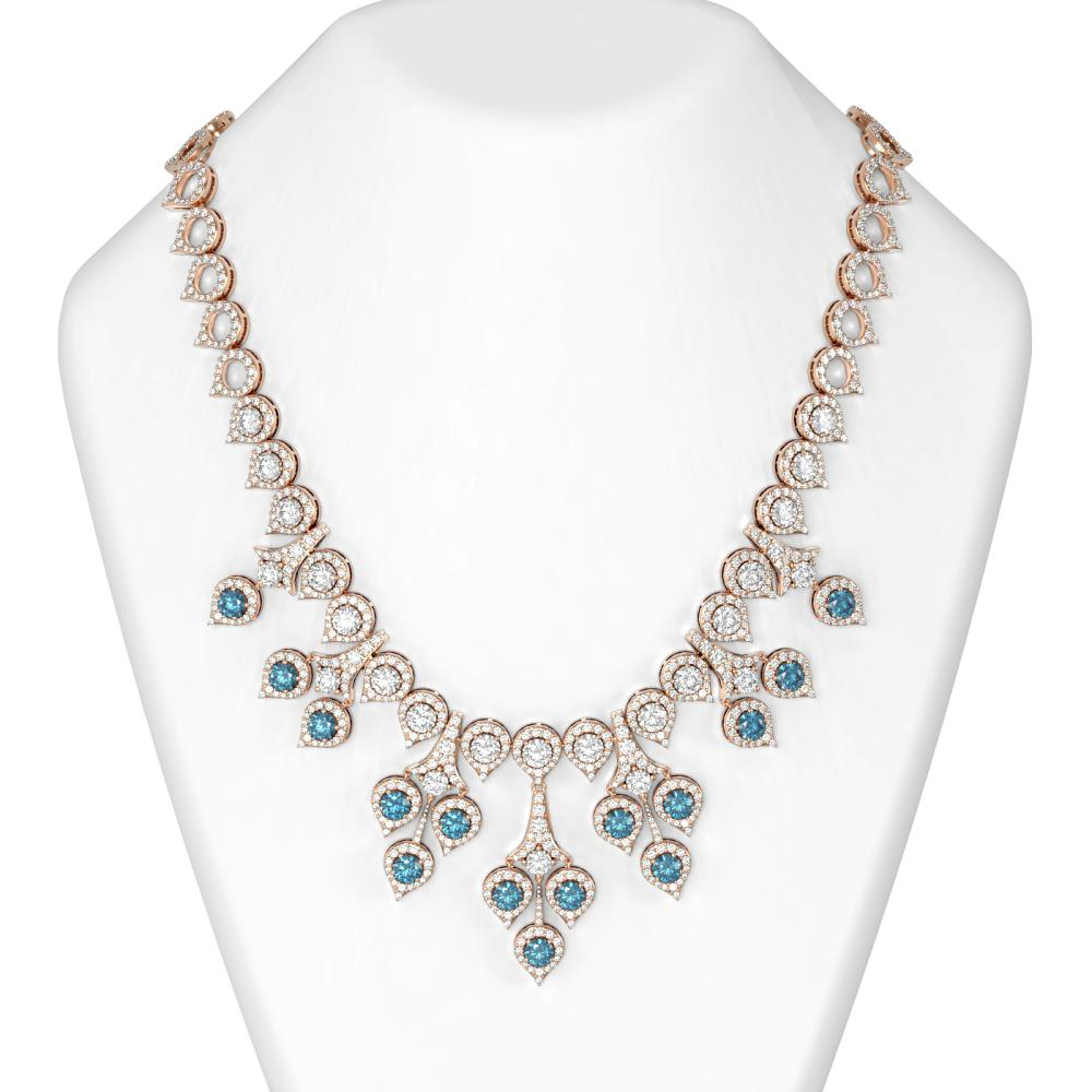 40.20 ctw Intense Blue Diamond Necklace 18K Rose Gold - REF-4446G8W