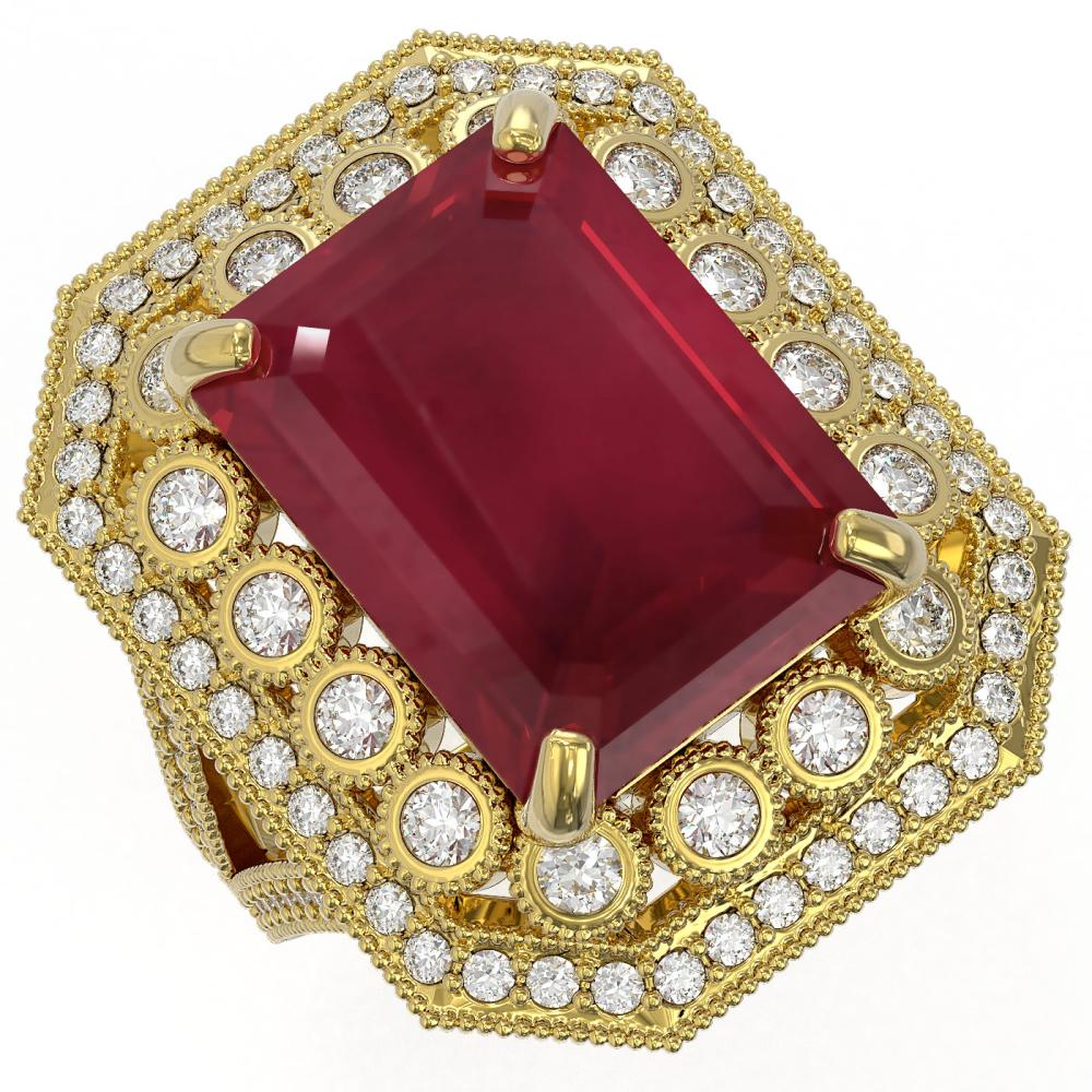 16.44 ctw Certified Ruby & Diamond Victorian Ring 14K Yellow Gold - REF-309A3N