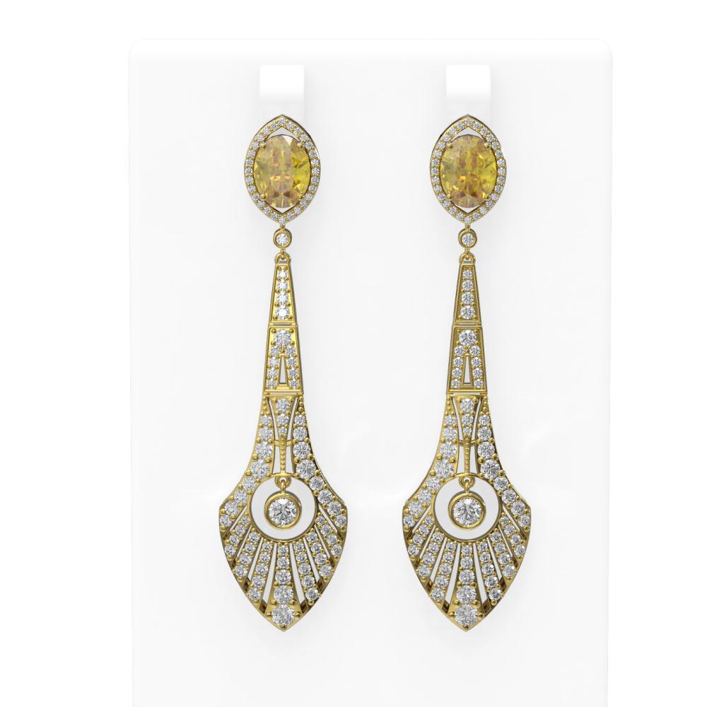 8.55 ctw Canary Citrine & Diamond Earrings 18K Yellow Gold - REF-391H6R