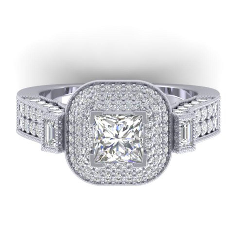 2.85 ctw Princess VS/SI Diamond Art Deco Micro Ring 18k White Gold - REF-517F5M