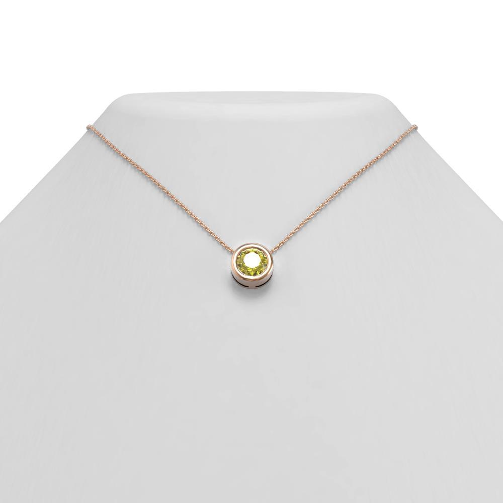 1.5 ctw Fancy Yellow Diamond Necklace 18K Rose Gold - REF-405K5Y